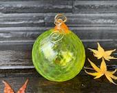 "Sunny Bright Yellow Facet Christmas Ornament, Round 3"" Blown Glass Hanging Sun Catcher, Orange Loop, Hook, Tree Decoration Avalon Glassworks"