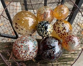 "Autumn Colors, Glass Floats, Set of Eight 2.5""-4.5"" Speckled Natural Reds, Golden Browns, Garden Balls, Floating Spheres, Avalon Glassworks"