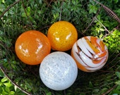 "Orange and White, Set of Four 3.5"" Blown Glass Decorative Floats in Bright Oranges and White, Decorative Garden Balls, By Avalon Glassworks"
