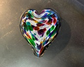 "Multi Color on White Spotted Glass Heart, Solid Heart-Shaped 3"" Paperweight Sculpture, Valentine, Appreciation Gift, By Avalon Glassworks"