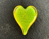 "Yellow Glass Heart, Bubble Pattern, Solid Heart-Shaped 4"" Paperweight Sculpture Valentine's Day Wedding Appreciation Gift, Avalon Glassworks"