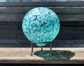 "Aqua White Spot Garden Ball, 5.5"" Transparent Blue Blown Glass Garden Ball, Decorative Float with Hand Made Metal Stand, Avalon Glassworks"