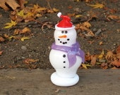 "Red & Purple Glass Snowman Sculpture with Scarf and White-Trimmed Red Hat, Black Eyes, Smile, ""Carrot"" Nose, By Avalon Glassworks"