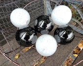 "White & Black Glass Floats, Set of Six 2.5""-2.75""  Sturdy Decorative Blown Glass Garden Balls, Home Decor, Pond Floats, by Avalon Glassworks"