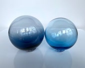 "Vintage-Look Blown Glass Floats, Set of Two, Transparent Blue 4.5"" Garden Spheres, Decorative Balls, Outdoors or Indoors, Avalon Glassworks"