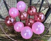 "Tickled Pink Floats, Set of Ten 2.75"" Decorative Glass Balls, Nautical Pond Spheres Hand Blown Cranberry Garden Art Globes Avalon Glassworks"