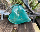 """Turquoise & Gold Fleck Glass Heart, Solid 3"""" Paperweight Sculpture, Teal Blue, Appreciation Anniversary Wedding Love Gift, Avalon Glassworks"""