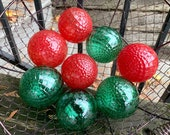 "Christmas Floats, Set of Eight, 3"" Blown Glass Balls, Red & Green Diamond Facet Texture, Garden Spheres, Holiday Décor, Avalon Glassworks"