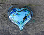 "Multi Color on Blue Spot Glass Heart, Solid Heart-Shaped 3"" Paperweight Sculpture, Appreciation Gift, By Avalon Glassworks"