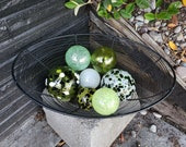 "Green & White Floats, Set of Seven 2.5""-3.5"" Decorative Nautical Blown Glass Balls For Home or Garden, by Avalon Glassworks"