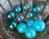 "The Aquas, Set of 12 Blown Glass Balls, 2.75"" Decorative Floats, Turquoise Blue Transparent Teal, Outdoor Garden Art Decor Avalon Glassworks"