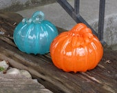 """Orange and Teal Blown Glass Pumpkins, Set of Two, 4"""" Gourds with Curly Stems, Thanksgiving, Halloween, Fall, Autumn Decor, Avalon Glassworks"""