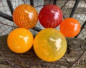 "The Oranges, Glass Garden Balls Set of Five 3""-4.5"" Decorative Hand Blown Floats, Nautical Spheres, Home or Garden Décor, Avalon Glassworks"