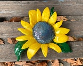 "Sunflower Sculpture, Blown and Sculpted Glass 7"" Decorative Flower with Brown Center, Yellow Petals, Green Curled Leaves, Avalon Glassworks"