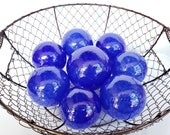 "Bright Blue Blown Glass Balls, Set of Eight 2.5""-3.5"" Decorative Spheres for Baskets, Outdoor Garden Balls, Pond Floats, Avalon Glassworks"