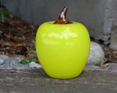 "Yellow Glass Apple, Hand Blown 4.5"" Tall Fruit Sculpture with Brown Stem By Avalon Glassworks"