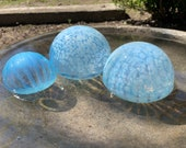 "Jellyfish Floats, Set of Three 2.75""-4"" Blown Glass Garden Balls, Translucent Light Blue & White Outdoor Floating Spheres, Avalon Glassworks"