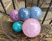 "Bright Spring Floats, Set of Five Floats, 3""-4.5"" Blown Glass Spheres, Decorative Balls in Pinks, Purples, Turquoise, By Avalon Glassworks"