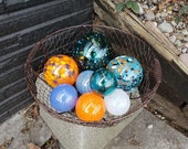 "Teal, Aqua & Orange Floats, Set of Eight, 2.5"" to 4.5"" Blown Glass Floats, Sturdy Decorative Glass Garden Balls by Avalon Glassworks"
