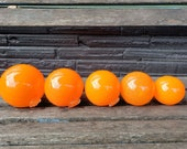 "Orange Set of Five Graduated Size Floats, 2.5""-3.75"", Glass Balls in Opaque Orange, Garden Floats, Home & Outdoor Décor By Avalon Glassworks"