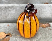 "Tall Orange Glass Pumpkin, 6.5"" Decorative Gourd Sculpture with Dark Red Ribs and Curly Stem, Thanksgiving Centerpiece By Avalon Glassworks"