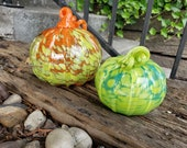 "Hand Blown Glass Art Pumpkins, Orange, Green & Blue Set of Two 4.5""-5.5"" Gourds, Spots, Curly Stems, Ribs, Autumn Decor, Avalon Glassworks"