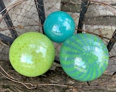 Green and Blue Floats, Set of Three Hand Blown Glass Balls, Opaque Turquoise Chartreuse, Garden Art Balls Outdoor Spheres, Avalon Glassworks