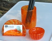 Orange Blown Glass Desk Accessory Set, 3-Pieces Includes Card, Clip, and Pen Holder, Transparent with Opaque Details, By Avalon Glassworks