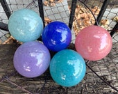 Pinks & Blues, Blown Glass Balls, Set of 5, Opaque Pink, Purple, Turquoise, Lapis Blue, Pale Blue, Home or Garden Decor, Avalon Glassworks