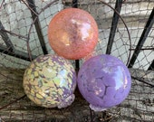 "Lavender Peach Glass Floats, Set of Three 3.5"" Decorative Hand Blown Glass Garden Art Pond Balls, Interior Design Spheres, Avalon Glassworks"