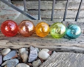 """Warmer Toned """"This""""  Floats, Set of Five, 2.5"""" Hand Blown Glass Balls in Transparent Colors, By Avalon Glassworks"""