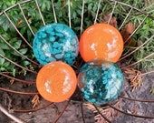 "Orange & Turquoise Glass Balls, Set of Four 2.5""-3.5"" Hand Blown Decorative Floats, Bright Orange Teal Blue Outdoor Art, Avalon Glassworks"