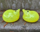 "Light Yellow Chicks, Set of Two 3"" Blown Glass Bird Sculptures with Black Glassy Eyes, Decorate Easter Table or Basket, By Avalon Glassworks"