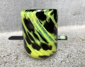 "Little Black & Yellow Cup, Hand Blown Glass, Pen Holder, Drinking Glass, Small Vase, 3.5"" Glassware by Avalon Glassworks"