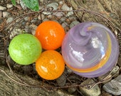 "Purple, Orange and Green Glass Floats, Set of Four, 2.5"" to 4.5"" Blown Glass Spheres, Decorative Outdoors or Indoors, By Avalon Glassworks"