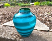 Aqua & Turquoise Blown Glass Wrap Vase, Modern Contemporary Northwest Coastal Decor, Graphic Green Blue Horizontal Stripe, Avalon Glassworks