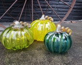 "Yellow, Green and Teal, Set of Three, 4"", 5.5"" and 6"" Wide Pumpkins with Metallic Curly Stems and Ribs, Autumn Decor by Avalon Glassworks"