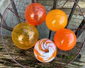 "The Oranges, Glass Garden Balls Set of Five 3""-4"" Decorative Hand Blown Floats, Nautical Spheres, Garden Art, Home Décor, Avalon Glassworks"