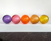 "Smallest Glass Floats, Set of 5 Hand Blown Balls 2.5"" Decorative Garden Art Design Spheres, Purple Orange Amber Pink Gold, Avalon Glassworks"