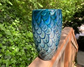 "Butterfly Wing Vase, Deep Blue with Lighter Blue and Beige Scale Pattern, 10"" Tall, Blown Glass Studio Art Vase, By Avalon Glassworks"