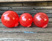"Ruby Glass Fishing Floats, Set of Three, 3""-4"" Garden Balls, Outdoor Pond Spheres, Bright Cherry Red, Holiday Decor, Blown Avalon Glassworks"