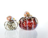 "Red and Beige Glass Pumpkin Set, 3"" Solid Mini Pumpkin & 4.5"" Blown Glass Pumpkin, Decorative Sculptures w/ Curly Stems By Avalon Glassworks"