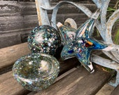 Glass Starfish Float & Small Dish, Set of 3 Blown and Solid Beach Sculptures, Coastal Nautical Art Sea Star Shell Decor, Avalon Glassworks