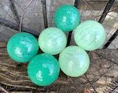 Jade Green Glass Balls, Set of 6 Small Hand Blown Glass Floats Decorative Outdoor Garden Art Pond Spheres Interior Design, Avalon Glassworks