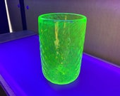 """Uranium Glass Tumbler, Glows in Black Light, Hand Blown Vaseline Glass 4.75"""" Cup, Vase, Bright Green, Bright Yellow, by Avalon Glassworks"""