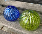 "Sea Urchin Shell Vases, Set of Two, 3"" Blown Glass Decorative Blue and Green Shell Sculptures, Bud Vases, Coastal Decor By Avalon Glassworks"