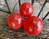 "Red Glass Fishing Floats, Set of Three 3""-4"" Hand Blown Garden Balls, Outdoor Art Pond Spheres Bright Cherry Ruby Scarlet, Avalon Glassworks"