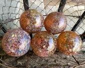 "Smallest Glass Multi-Mix Floats, Set of 5 Hand Blown Balls 2.5"" Decorative Garden Art Design Spheres, Amber Brown Pink, Avalon Glassworks"