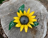 "Sunflower Sculpture, Blown Glass 8"" Decorative Flower with Brown Center, Yellow Petals, Green Curled Leaves, By Avalon Glassworks"
