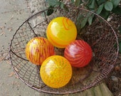 "Swirly Pop, Set of Four 3.5""-4.5"" Blown Glass Decorative Floats in Bright Reds, Oranges and Yellow, By Avalon Glassworks"